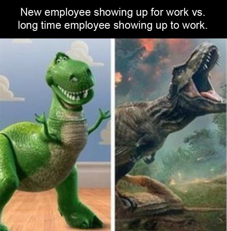picture of Toy Story's Rex as new energetic employee vs drawing of actual T-Rex as a burned out employee