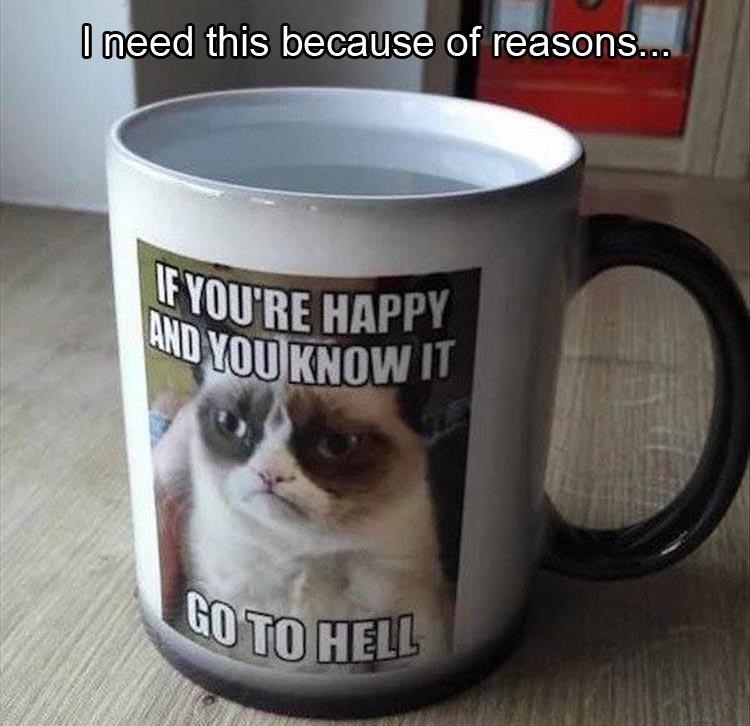 picture of a mug with a grumpy cat meme printed on it