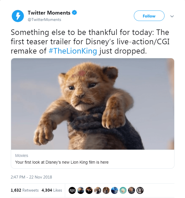 tweet about the new Lion King trailer release with picture of baby Simba being held up