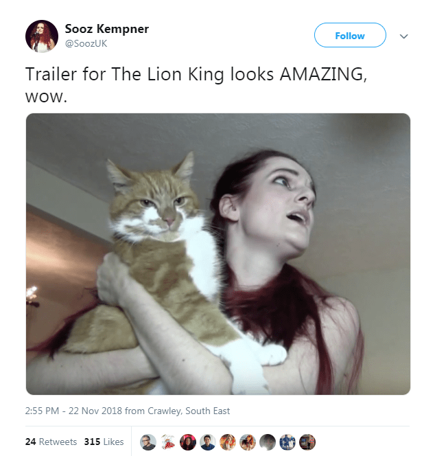 tweet with picture of woman holding cat in arms inspired by the new Lion King trailer