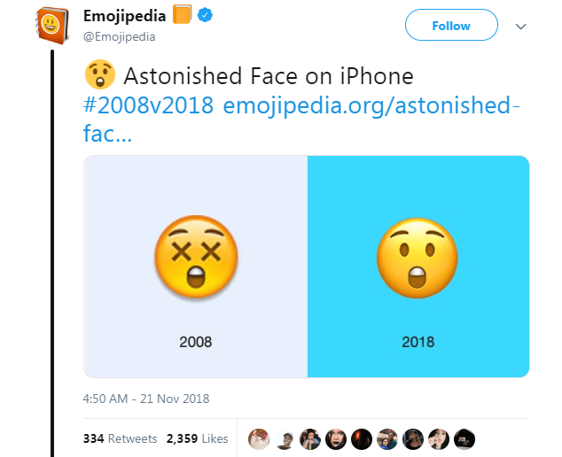 Text - Emojipedia Follow @Emojipedia Astonished Face on iPhone #2008v2018 emojipedia.org/astonished - fac... XX 2008 2018 4:50 AM - 21 Nov 2018 334 Retweets 2,359 Likes