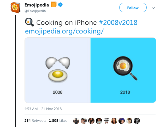 Text - Emojipedia @Emojipedia Follow Cooking on iPhone #2008v2018 emojipedia.org/coo king/ 2018 2008 4:53 AM 21 Nov 2018 254 Retweets 1,805 Likes BORNS > go ED