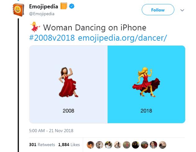 Text - Emojipedia Follow @Emojipedia Woman Dancing on iPhone #2008v2018 emojipedia.org/dancer/ 2008 2018 5:00 AM 21 Nov 2018 301 Retweets 1,884 Likes ED