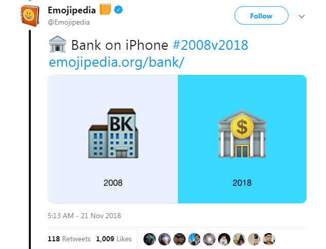 Text - Emojipedia Follow @Emojipedia Bank on iPhone #2008v2018 emojipedia.org/bank/ BK $ 2008 2018 5:13 AM 21 Nov 2018 118 Retweets 1,009 Likes