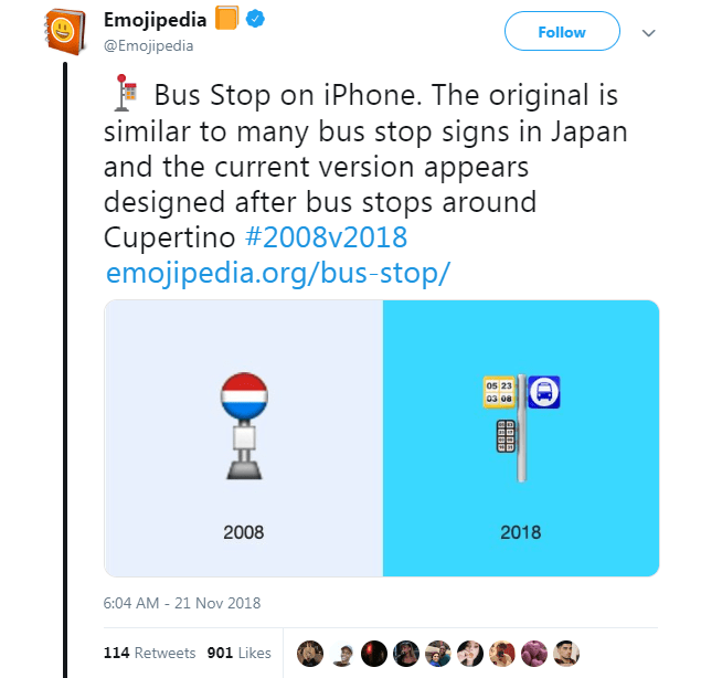 Text - Emojipedia Follow @Emojipedia Bus Stop on iPhone. The original is similar to many bus stop signs in Japan and the current version appears designed after bus stops around Cupertino #2008v2018 emojipedia.org/bus-stop/ 0s 23 03 08 2008 2018 6:04 AM - 21 Nov 2018 114 Retweets 901 Likes АВПВ BBB0