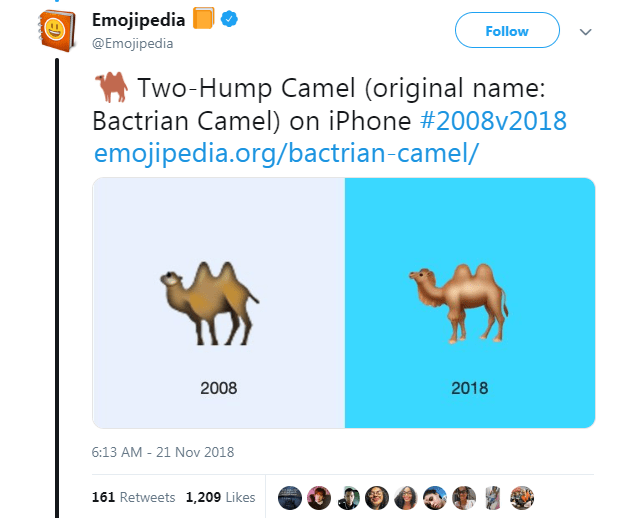 Text - Emojipedia Follow @Emojipedia Two-Hump Camel (original name: Bactrian Camel) on iPhone #2008v2018 emojipedia.org/bactrian-camel/ 2008 2018 6:13 AM 21 Nov 2018 161 Retweets 1,209 Likes