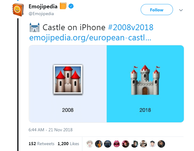 Text - Emojipedia Follow @Emojipedia Castle on iPhone #2008v2018 emojipedia.org/european-castl... 2008 2018 6:44 AM - 21 Nov 2018 152 Retweets 1,200 Likes ED