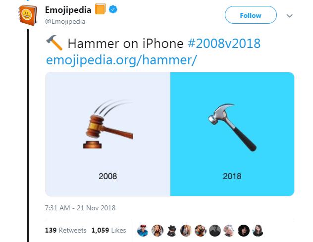 Text - Emojipedia Follow @Emojipedia Hammer on iPhone #2008v2018 emojipedia.org/hammer/ 2008 2018 7:31 AM - 21 Nov 2018 139 Retweets 1,059 Likes