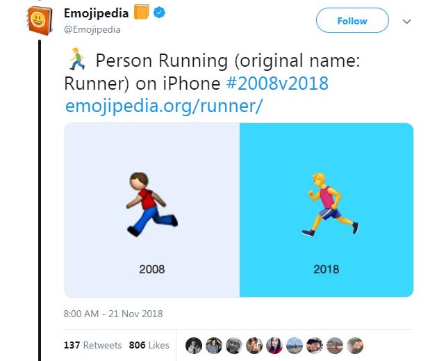 Text - Emojipedia Follow @Emojipedia Person Running (original name: Runner) on iPhone #2008v2018 emojipedia.org/runner/ 2008 2018 8:00 AM - 21 Nov 2018 137 Retweets 806 Likes