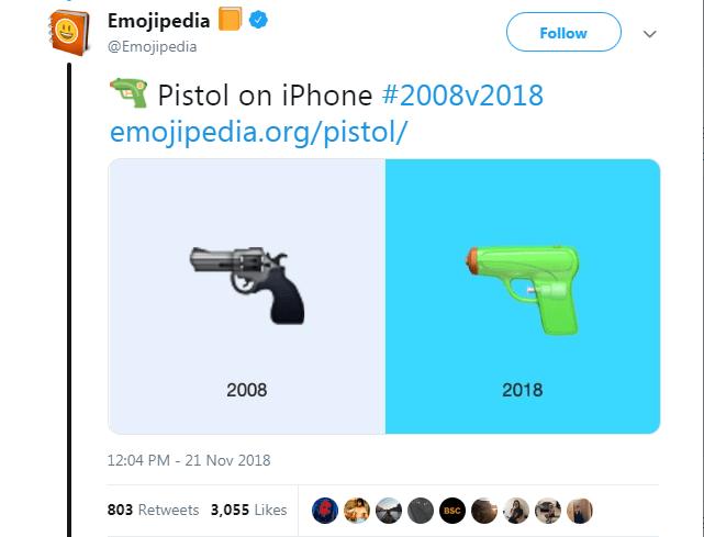 Text - Emojipedia Follow @Emojipedia Pistol on iPhone #2008v2018 emojipedia.org/pistol/ 2018 2008 12:04 PM 21 Nov 2018 803 Retweets 3,055 Likes BSC >