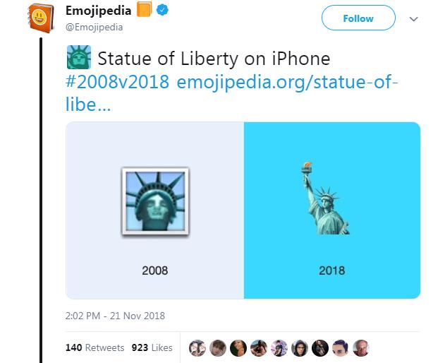 Text - Emojipedia @Emojipedia Follow Statue of Liberty on iPhone #2008v2018 emojipedia.org/statue-of- libe... 2008 2018 2:02 PM 21 Nov 2018 140 Retweets 923 Likes