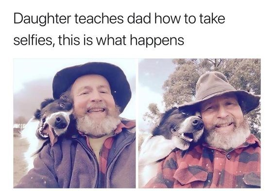 pictures of old farmer taking cute selfies with his dog