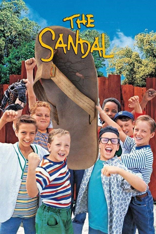 "sandal photoshopped into ""The Jet"" movie poster to appear as if it surrounded by kids"