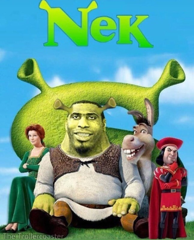 "neck guy photoshopped over Shrek's body to create fake ""Nek"" movie poster"