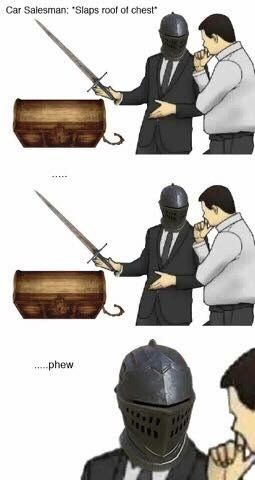 """""""slaps car"""" meme about gaming with salesman as player checking treasure box to make sure it's not hiding an enemy"""