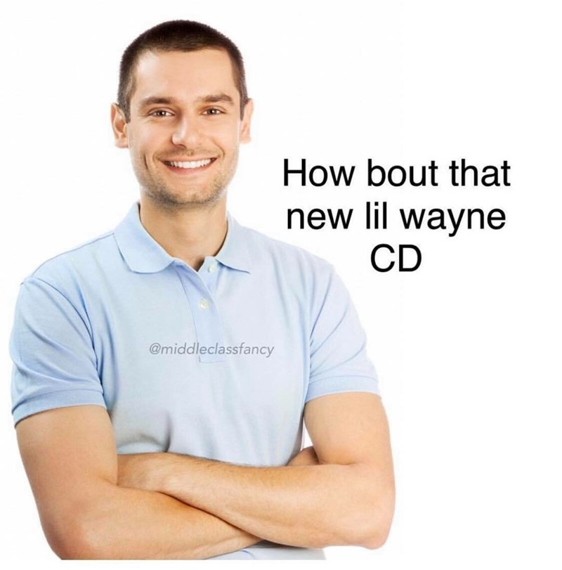 stock photo of white man smiling with his hands crossed asking about the new Lil Wayne CD