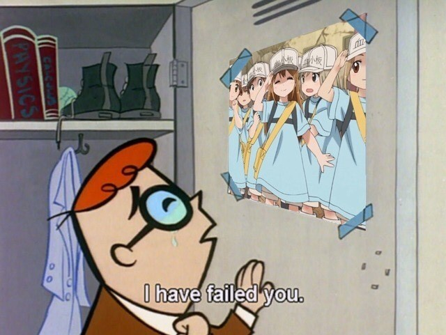 Dexter crying while looking at picture of Anime girls saying he had failed them