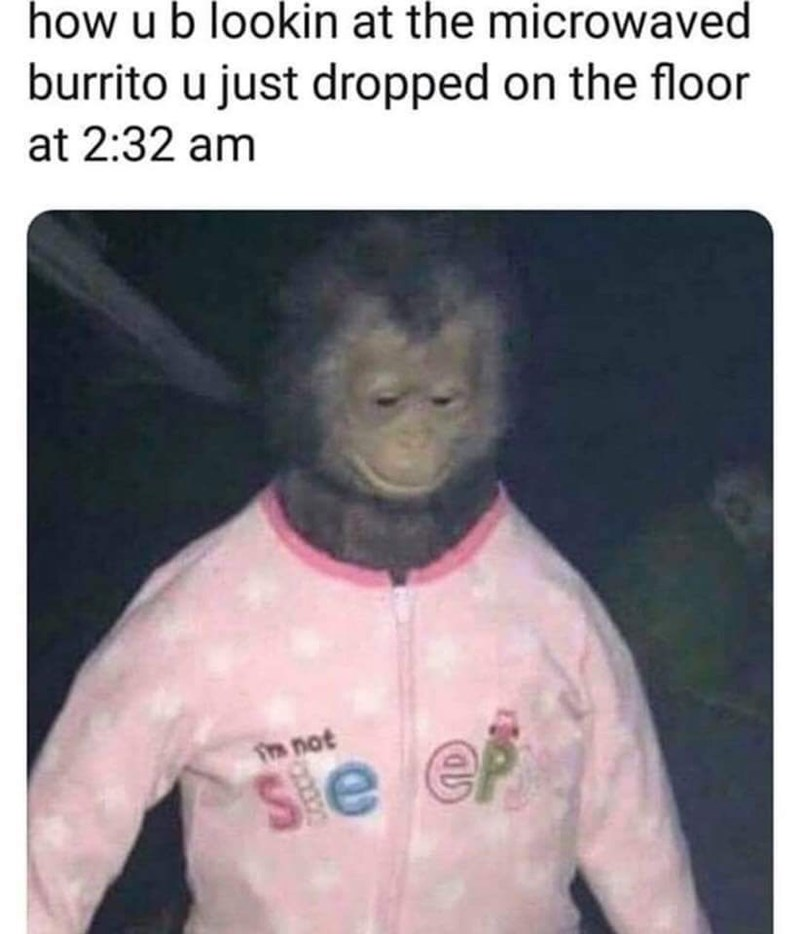 meme about food cravings in the middle of the night with picture of monkey in pink pajamas
