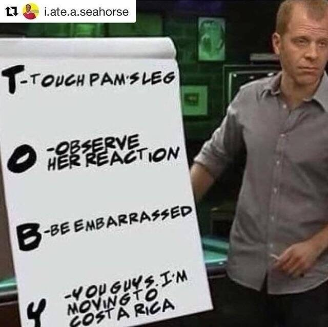 Toby from The Office showing his name is an acronym explaining his story line