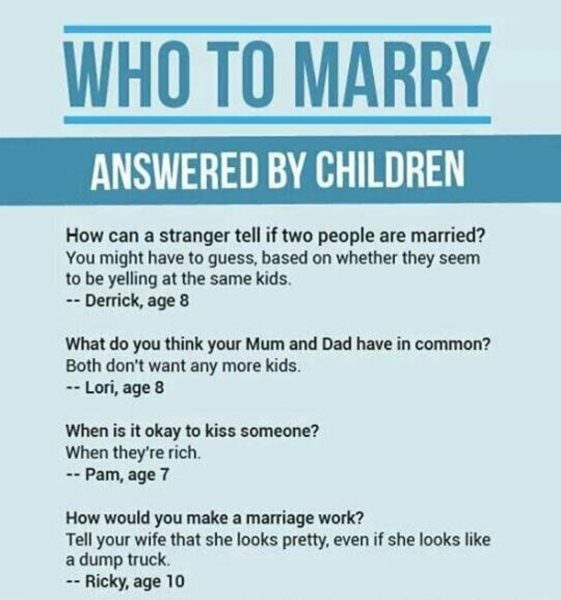 Sign that asks kids random questions about marriage and relationships