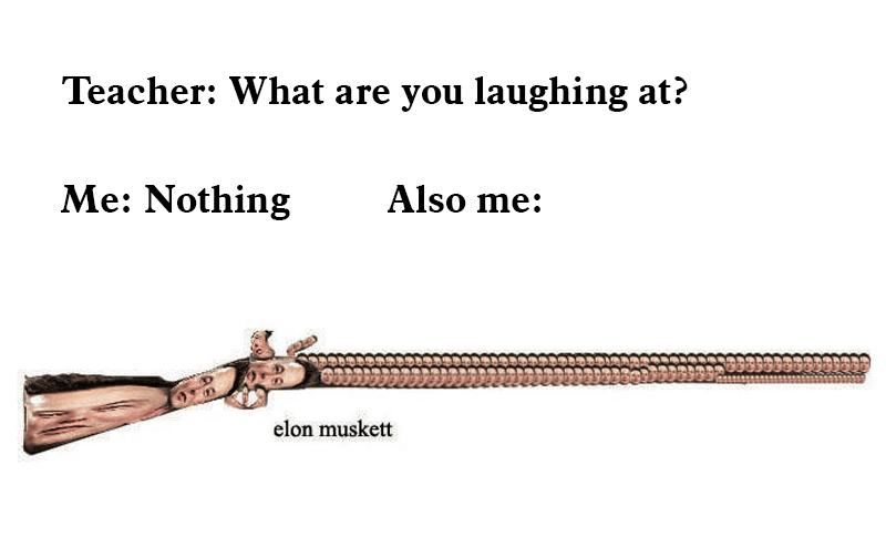 "Text that reads, ""Teacher: What are you laughing at? Me: Nothing; Also me: ..."" above a pic of Elon Musk's face photoshopped to look like a musket called an 'Elon Musket'"