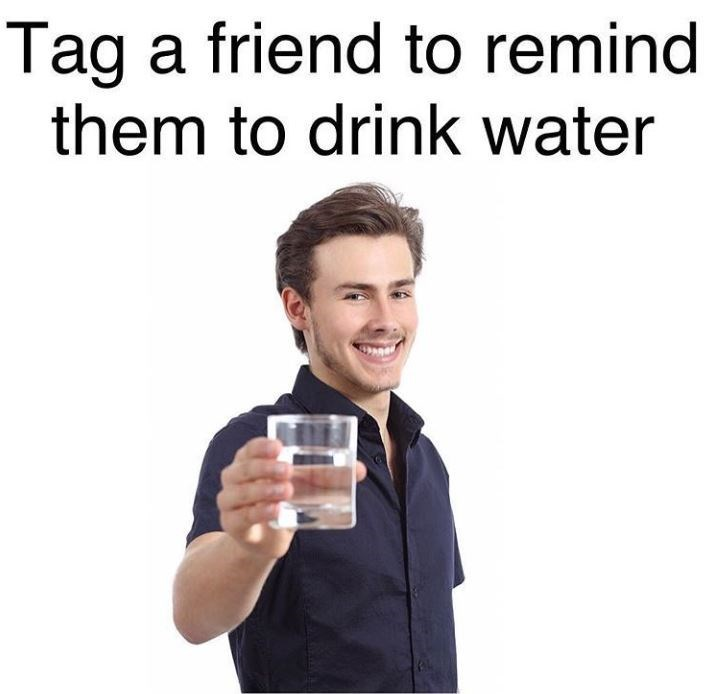 stock photo white guy meme about drinking water