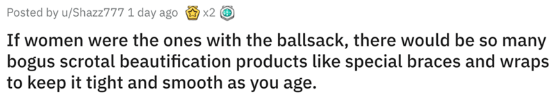 Text - Posted by u/Shazz777 1 day ago x2 If women were the ones with the ballsack, there would be so many bogus scrotal beautification products like special braces and wraps to keep it tight and smooth as you age.