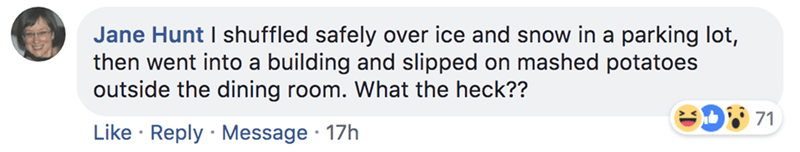 Text - Jane Hunt I shuffled safely over ice and snow in a parking lot, then went into a building and slipped on mashed potatoes outside the dining room. What the heck?? 71 Like Reply Message 17h