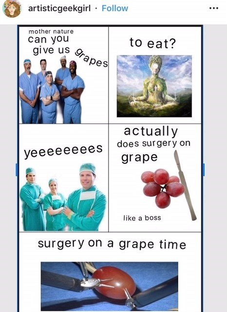 """""""mom can you give me money"""" about doctors asking mother nature for grapes to operate on"""