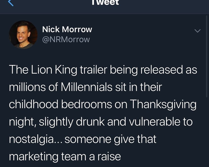 tweet about the lion king trailer coming out at the perfect time