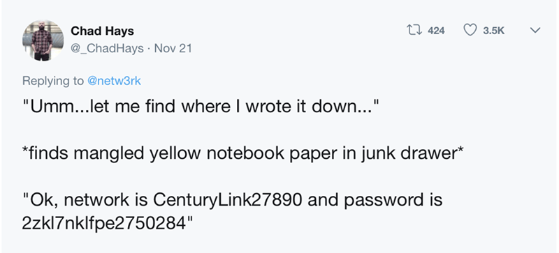 tweet about finding your WIFI password in a random notebook