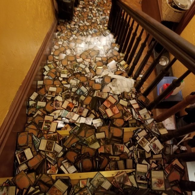 pictures fell all over the staircase and to the floor