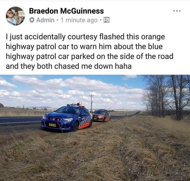 post about getting chased by two patrol cars