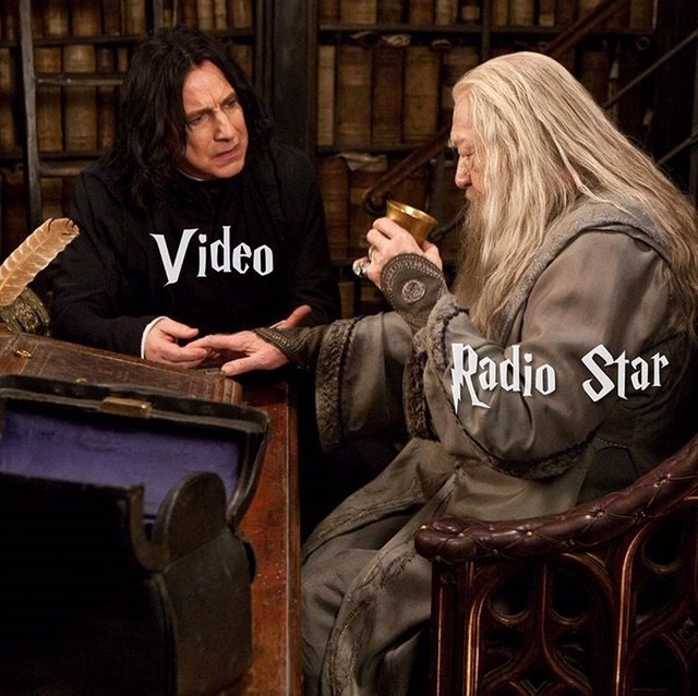 video killed the radio star meme with Snape and Dumbledore from Harry Potter