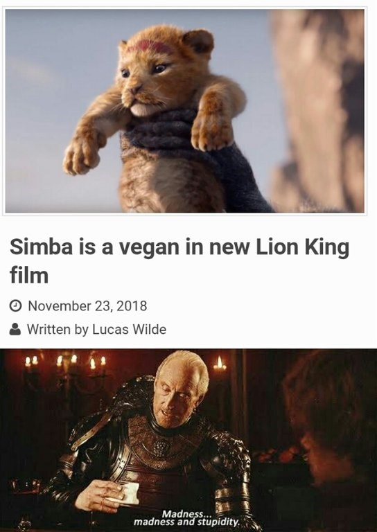 Tywin Lannister reacting to headline about Simba being vegan in new Lion King movie