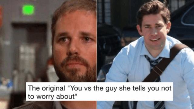 meme of roy and jim and pam needing to choose between them in the office