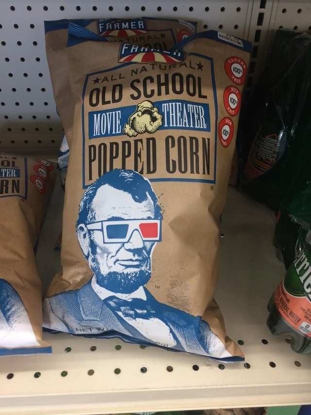 design fail for movie popcorn with a pic of Lincoln on it
