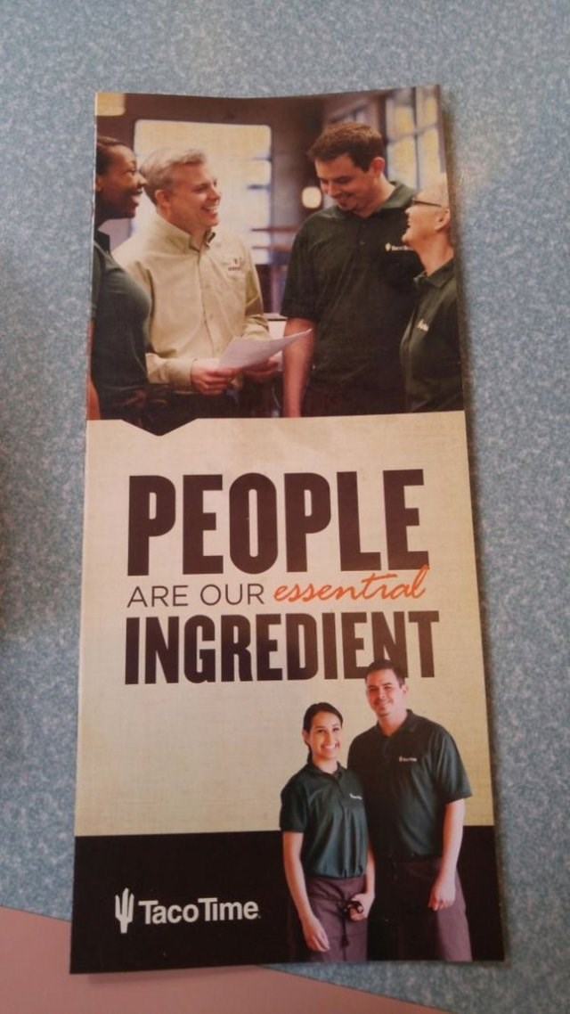 design fail for a pamphlet for a restaurant that says people are their ingredient