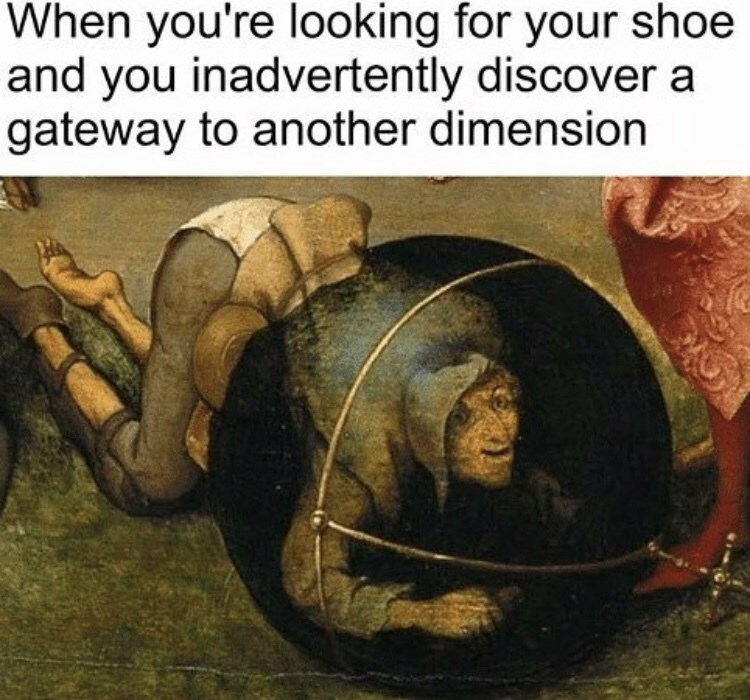 classic painting of person crawling inside sphere to represent finding things you weren't expecting while looking for something small