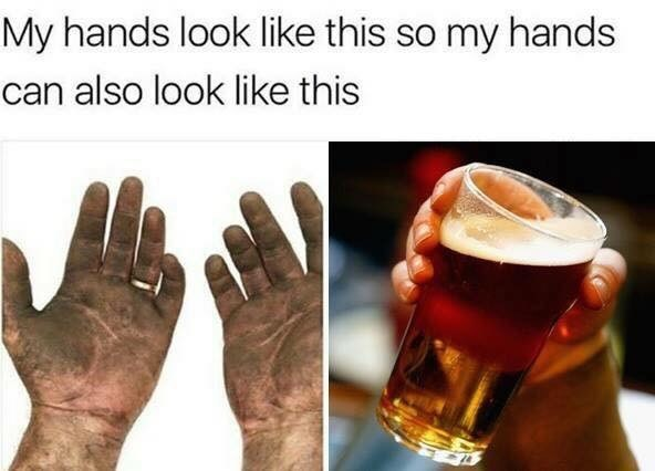 meme about working hard so you can afford to party and get drunk