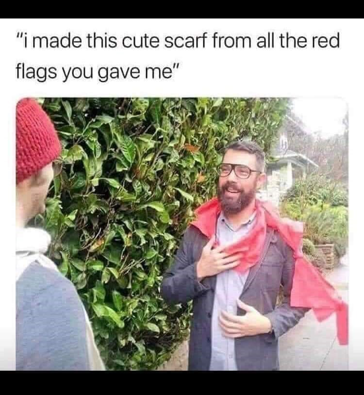 """picture of person wearing scarf made of flags tied together, making pun on """"red flags"""" meaning """"warning signs"""""""