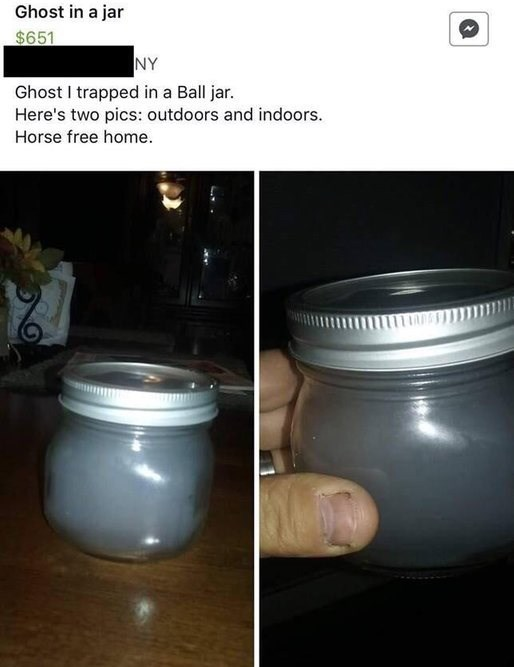 """Craigslist ad for 'ghost in a jar;' caption reads, """"Ghost trapped in a ball jar. Here's two pics: outdoors and indoors. Horse-free home"""""""