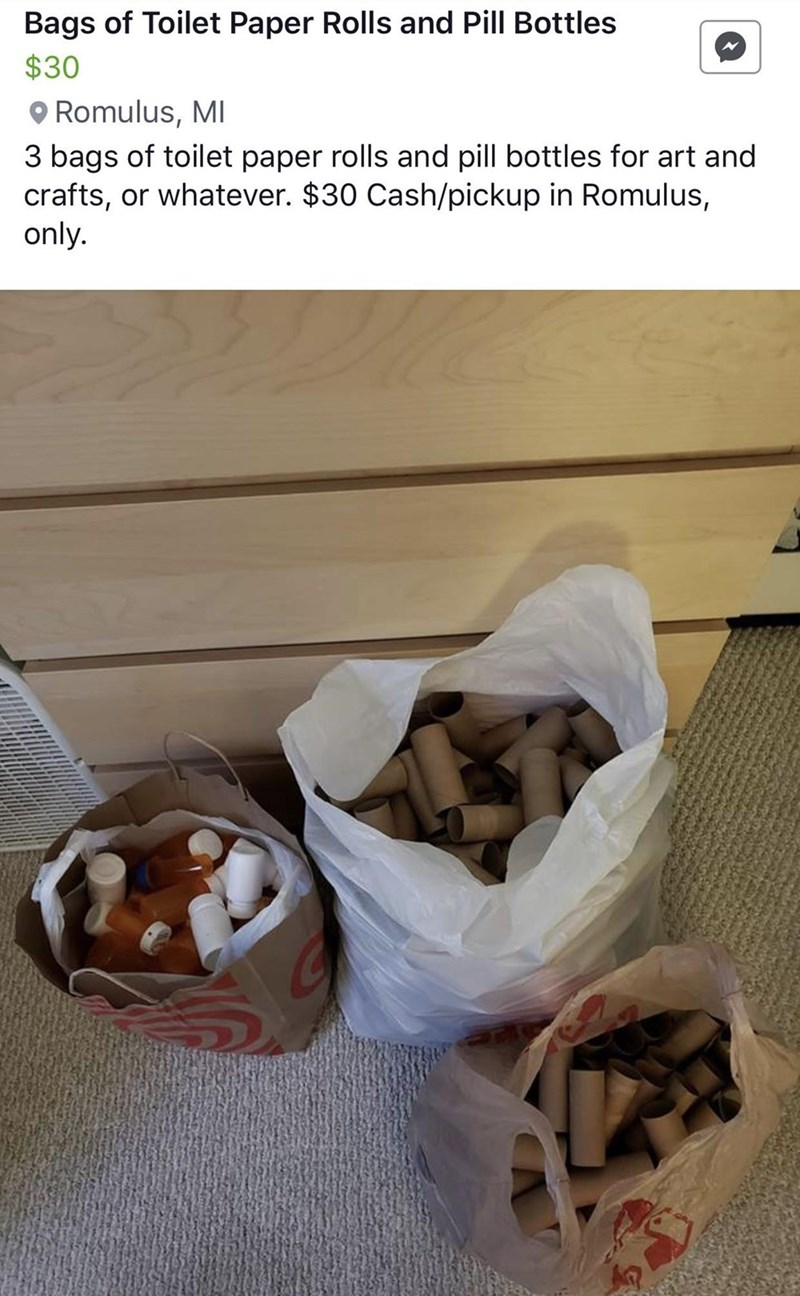 Pic of some bags with toilet paper rolls and empty pill bottles; caption says that they are selling for $30 and are meant for arts and crafts