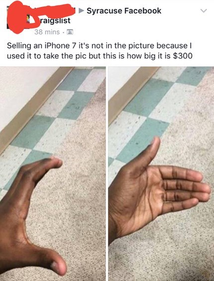 craigslist ad for iPhone, picture only shows person's hand miming how it would look holding the phone