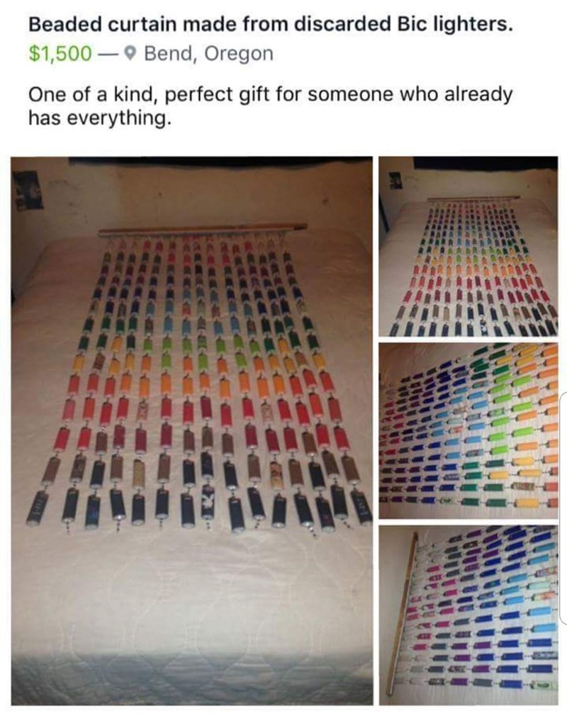 craigslist ad for bead curtain made from different colored lighters