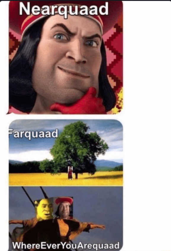 """Meme using a play on words with 'My Heart Will Go on' by Celine Dion, where instead she says, """"Nearquaad, Farquaad, wherever you arequaad"""""""