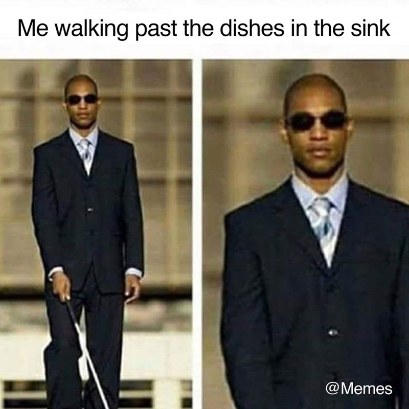 pictures of blind person using a cane representing acting like you don't see the dirty dishes in the sink
