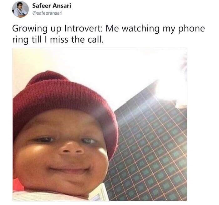 honey bun baby meme about introverts not liking to answer the phone