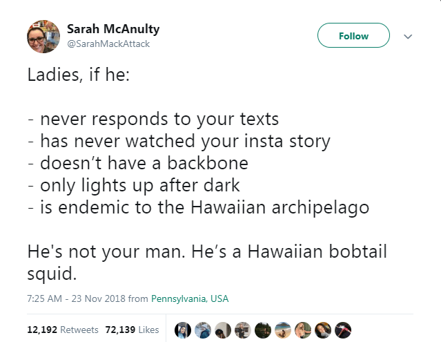 Text - Sarah McAnulty Follow @SarahMackAttack Ladies, if he: - never responds to your texts - has never watched your insta story doesn't have a backbone - only lights up after dark is endemic to the Hawaiian archipelago He's not your man. He's a Hawaiian bobtail squid 7:25 AM - 23 Nov 2018 from Pennsylvania, USA 12,192 Retweets 72,139 Likes