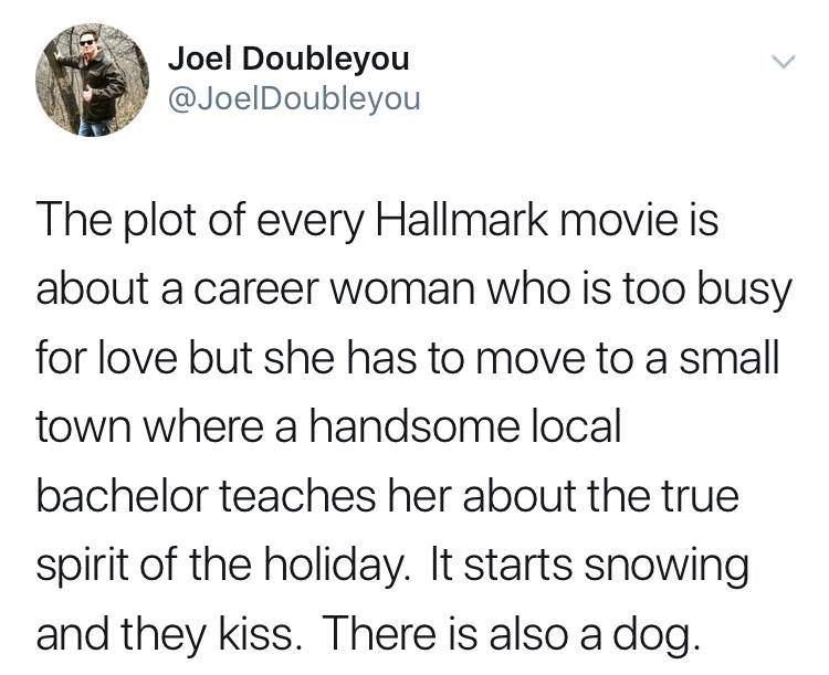 tweet post about how every hallmark movie is cliche